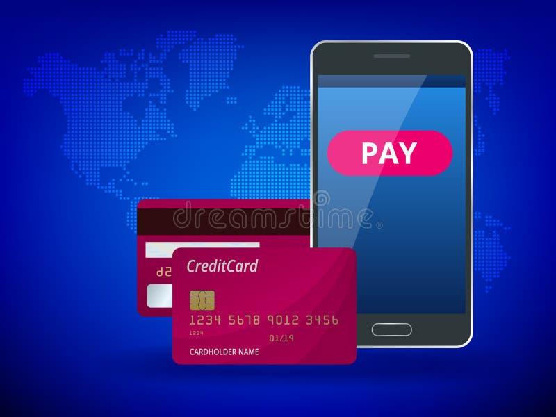 Online mobiele betaling, betaling door kaart, persoonlijke gegevensbescherming, elektronische handelconcept De kopbal voor websit royalty-vrije illustratie