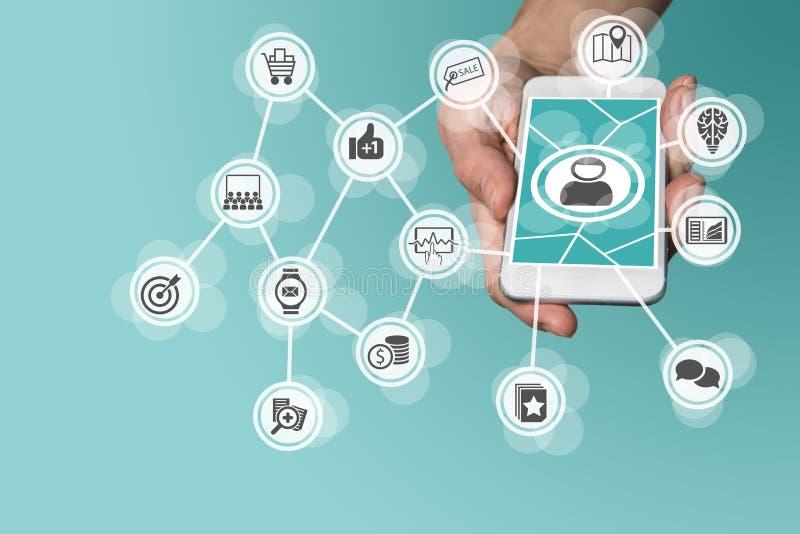 Online mobiele marketing door grote gegevens, analytics en sociale media leveraging stock illustratie