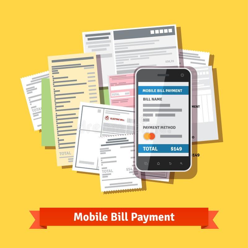 Online-mobil smartphoneräkningbetalning stock illustrationer