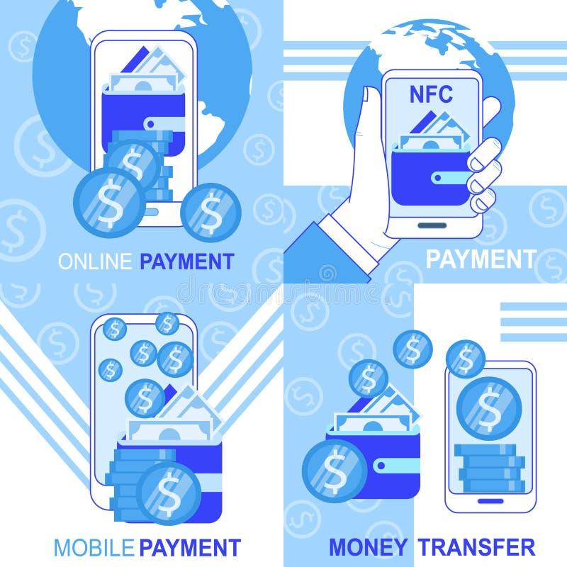 Online-mobila baner för överföring för NFC-betalningpengar stock illustrationer