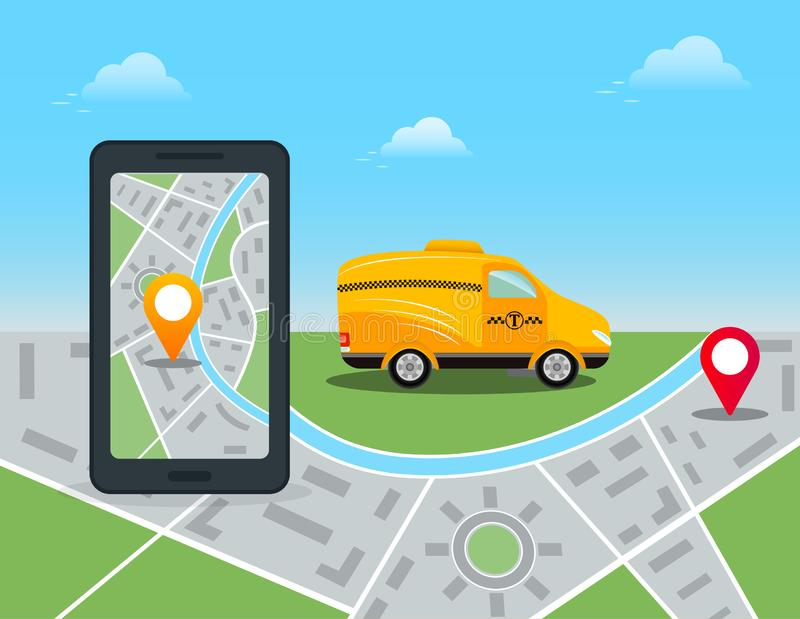 Online mobile app order taxi service. Smartphone with city map and location pin on touch screen. Yellow taxi car and GPS route poi royalty free illustration