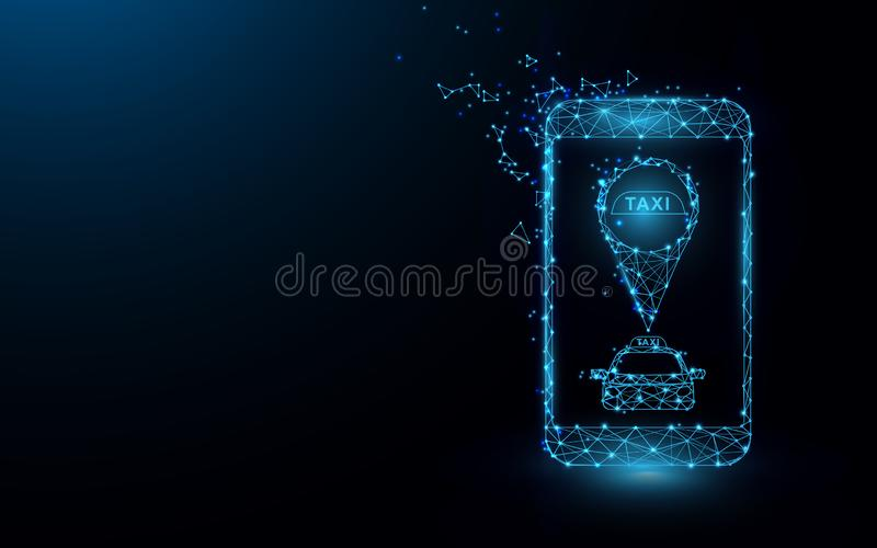 Online mobile application order taxi service from space and satellite  from lines, triangles and particle style design. Illustrati stock illustration