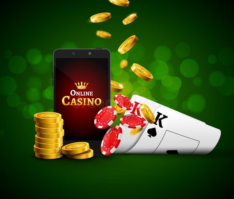 Online mobile casino app. Poker gambling app. Casino vector game background stock illustration