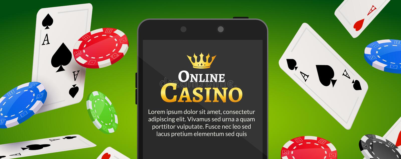 Online mobile casino background. Poker app online concept. stock illustration