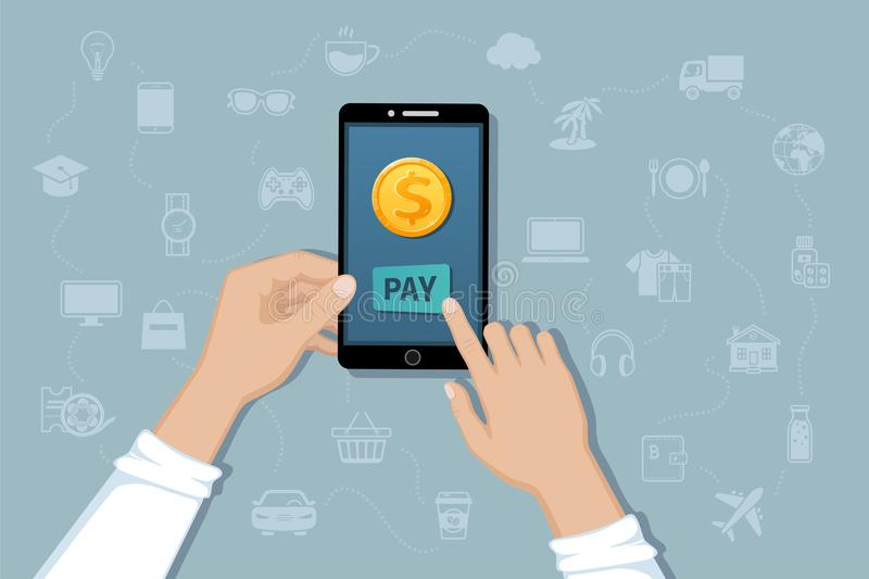 Online mobile payment, money transfer service. Pay for goods and services by cashless payments. Hand holding a phone with a coin. Online mobile payment, money vector illustration