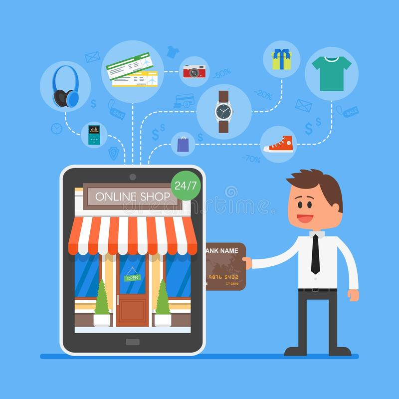 Online mobile shopping concept vector illustration in for Shop on line mobili