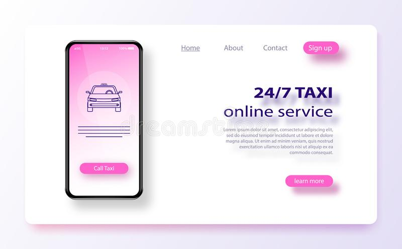 Online mobile taxi order service app concept. Taxi service application banner template. royalty free illustration