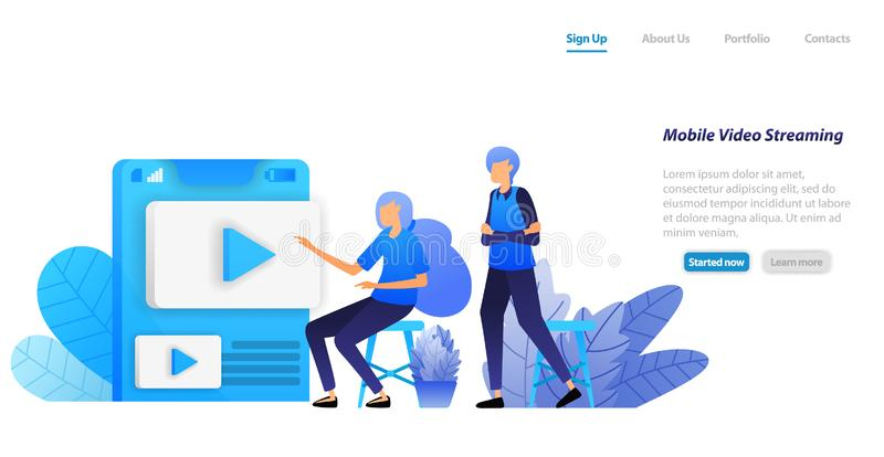 Online mobile video sharing and streaming apps. people choose videos influencers to play and watch. vector illustration concept fo stock illustration