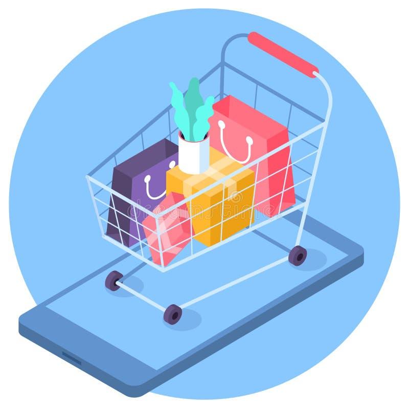 Online mobilnego zakupy isometric pojęcie ilustracja wektor