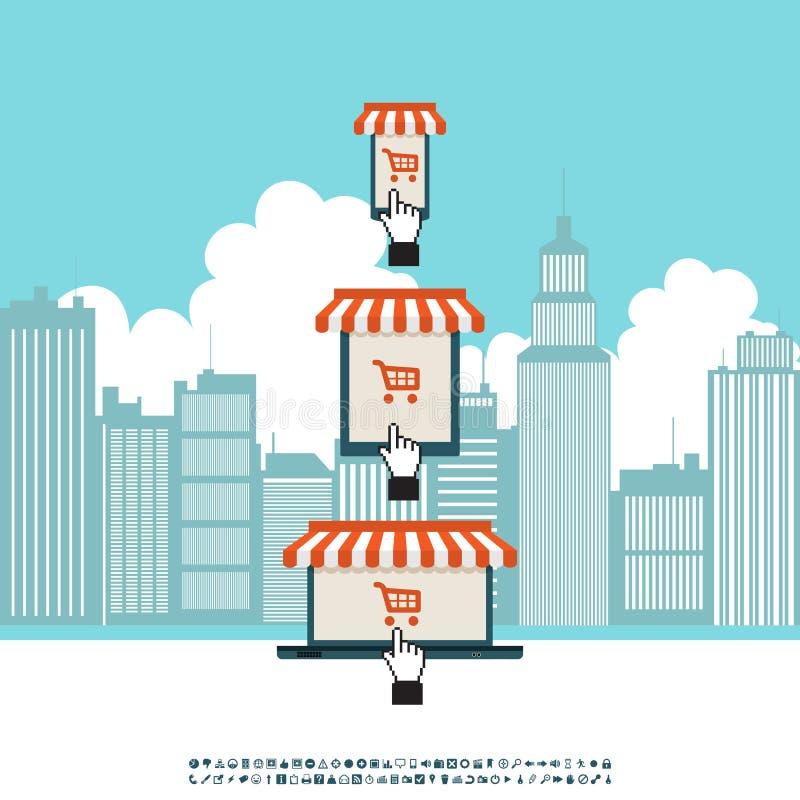 Online Mobilny Elektroniczny sklep ilustracja wektor