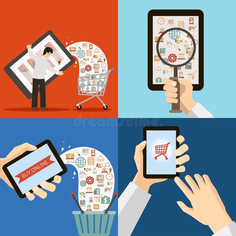 Online-mobilt marknadsföra Retro Sale och köpbegrepp royaltyfri illustrationer