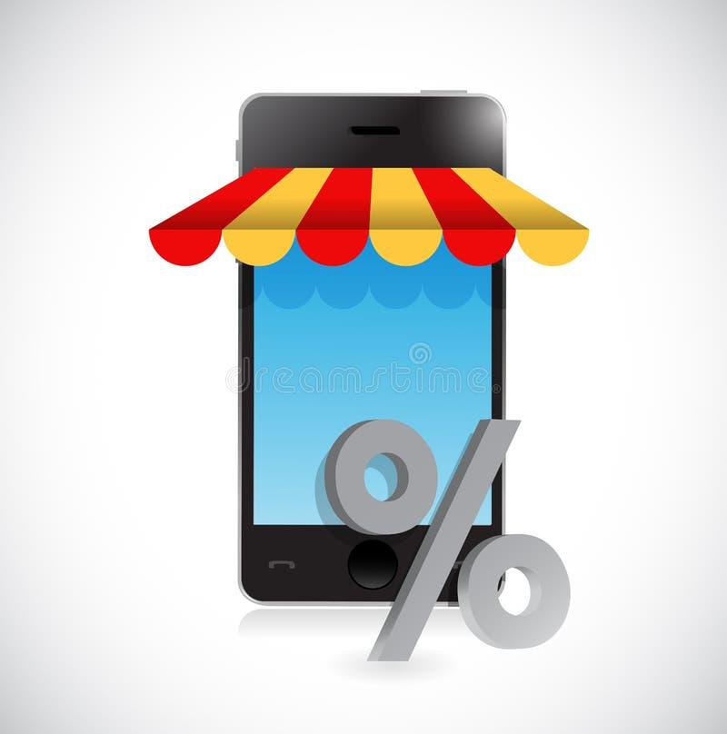 online-mobilt symbol för shoppinglagerprocentsats stock illustrationer