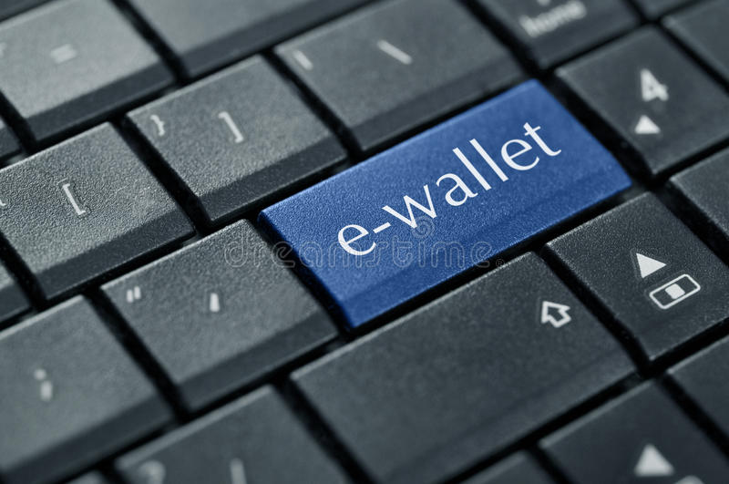 Online money concept. Words e-wallet on button of computer keyboard stock images