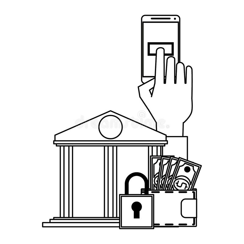 Online money transfer and bank website in black and white. Hand using samrtphone bank app with secuity padlock symbol vector illustration graphic design royalty free illustration
