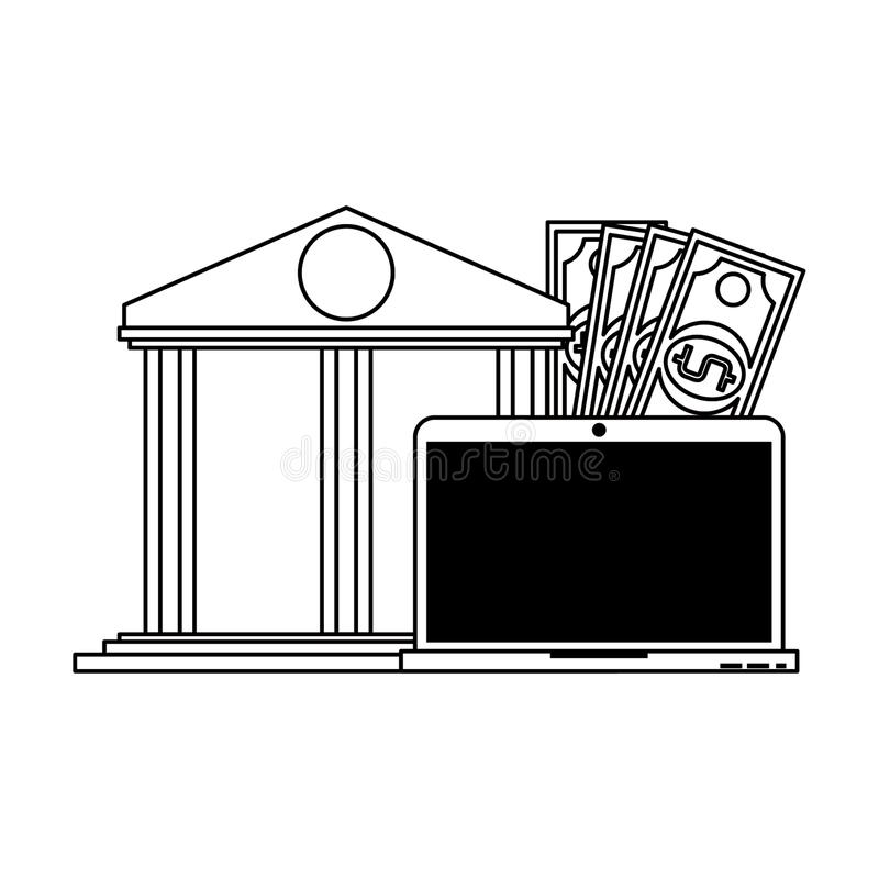 Online money transfer and bank website in black and white. Online bank website and laptop with money symbols vector illustration graphic design royalty free illustration