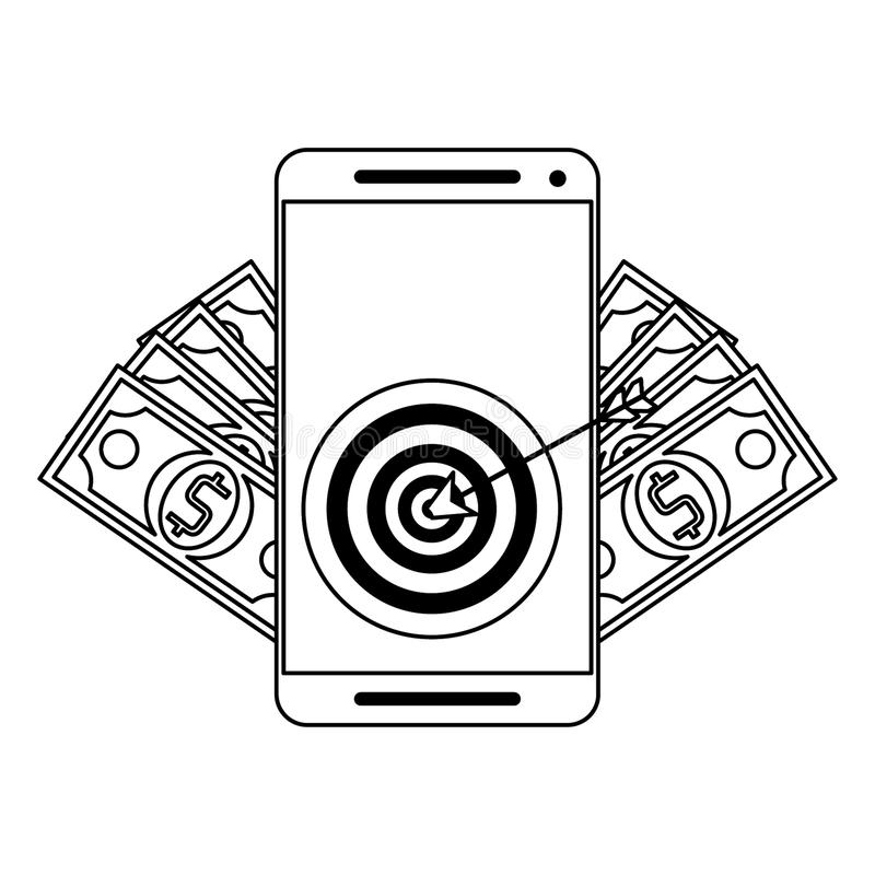 Online money transfer and bank website in black and white. Smartphone with target and money symbols vector illustration graphic design stock illustration