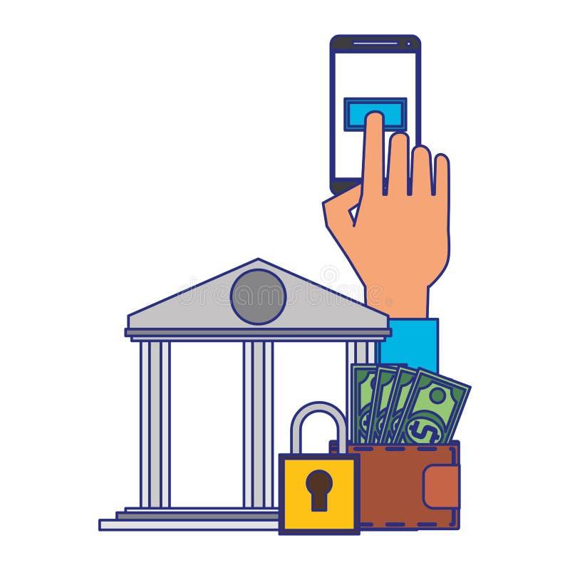 Online money transfer and bank website blue lines. Hand using samrtphone bank app with secuity padlock symbol vector illustration graphic design vector illustration
