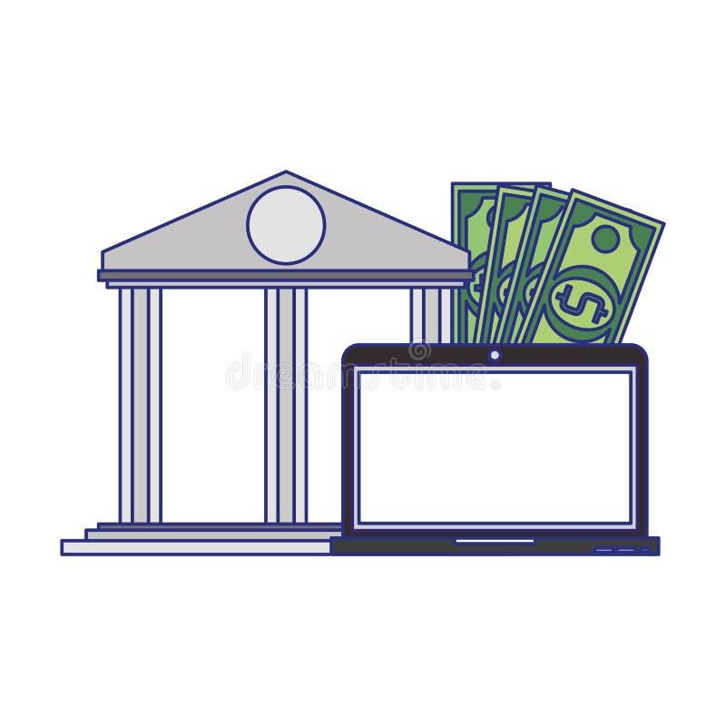 Online money transfer and bank website blue lines. Online bank website and laptop with money symbols vector illustration graphic design royalty free illustration