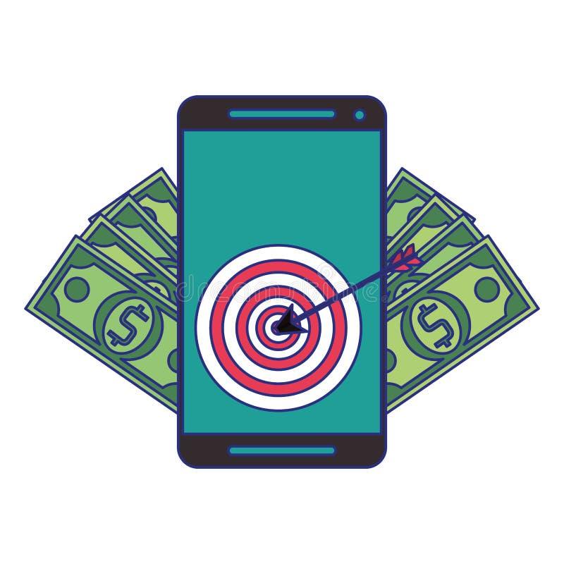 Online money transfer and bank website blue lines. Smartphone with target and money symbols vector illustration graphic design stock illustration