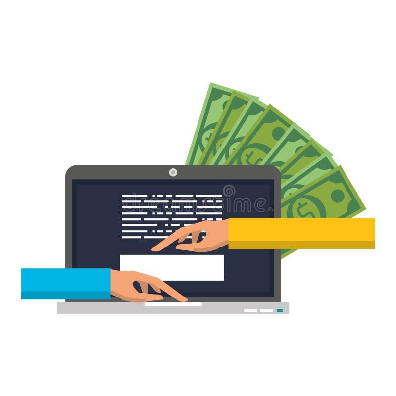 Online money transfer and bank website. Hand using laptop for money transfer online symbol vector illustration graphic design royalty free illustration