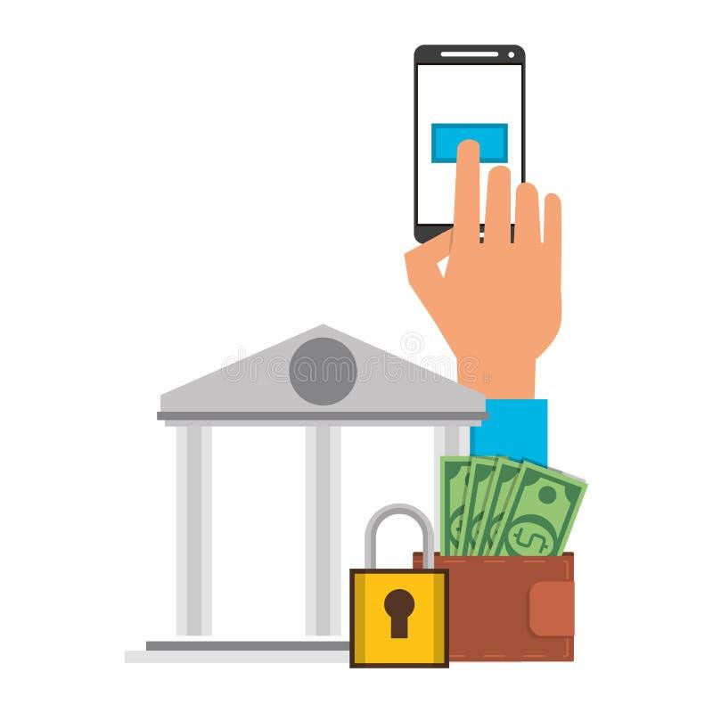 Online money transfer and bank website. Hand using samrtphone bank app with secuity padlock symbol vector illustration graphic design vector illustration