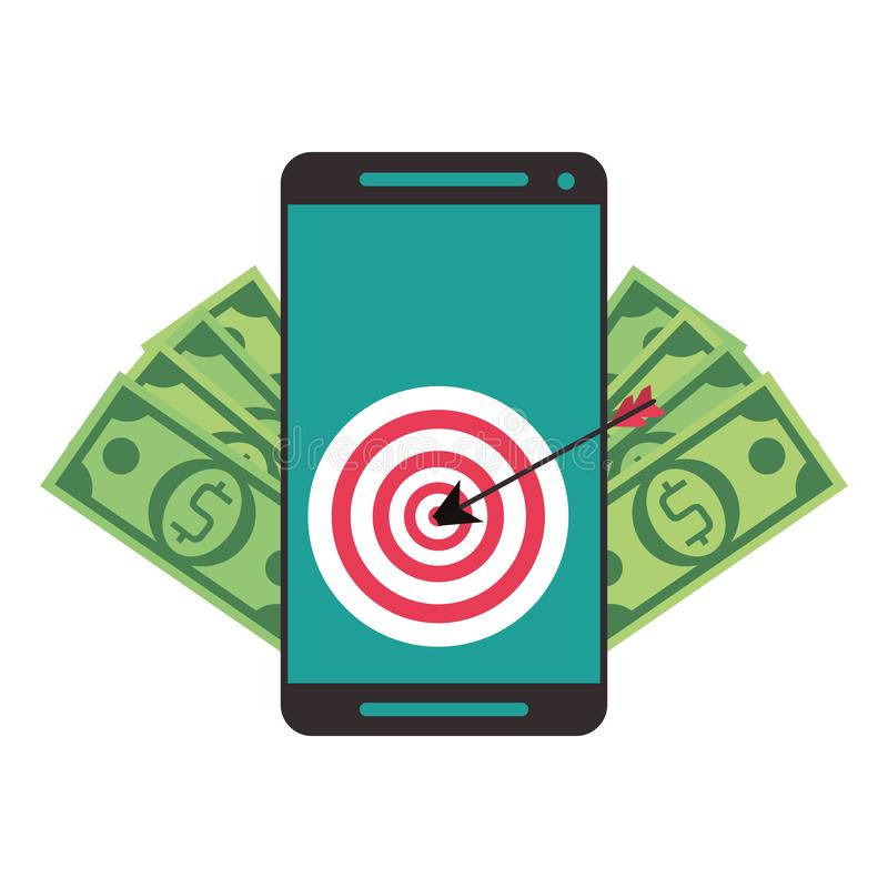 Online money transfer and bank website. Smartphone with target and money symbols vector illustration graphic design royalty free illustration
