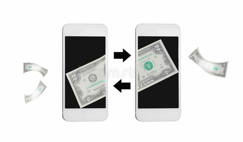 Online money transfer by internet on mobile. Online money transfer ,2 dollar note on black mobile screen stock photos