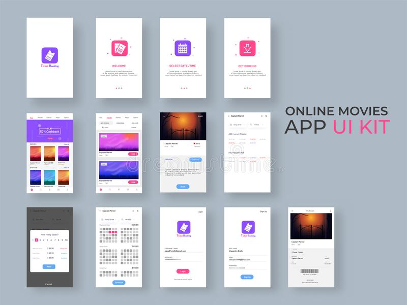 Online Movie App UI Kit for responsive mobile app or website with different GUI layout including Login, Create Account, Profile. And Notification screens stock illustration
