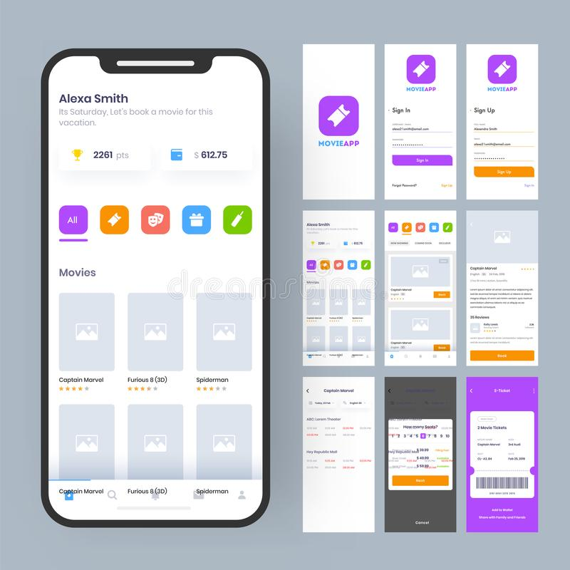 Online Movie App UI Kit for responsive mobile app or website with different GUI. Online Movie App UI Kit for responsive mobile app or website with different GUI stock illustration