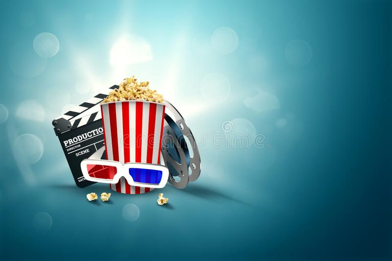 Online movies, cinemas, an image of popcorn, 3d glasses, a movie film and a blackboard on a blue background. The concept of a royalty free illustration