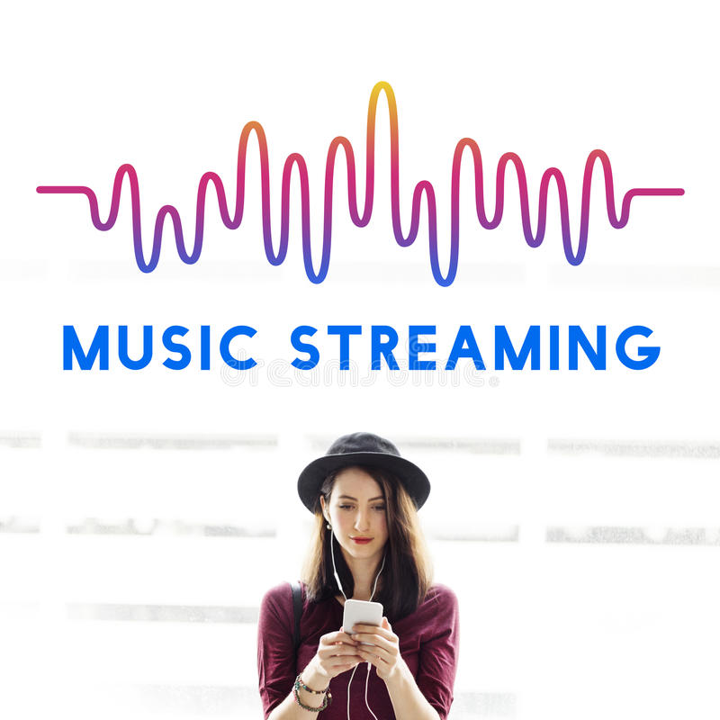 Online Music Audio Music Streaming Wave Graphic Concept royalty free stock photography