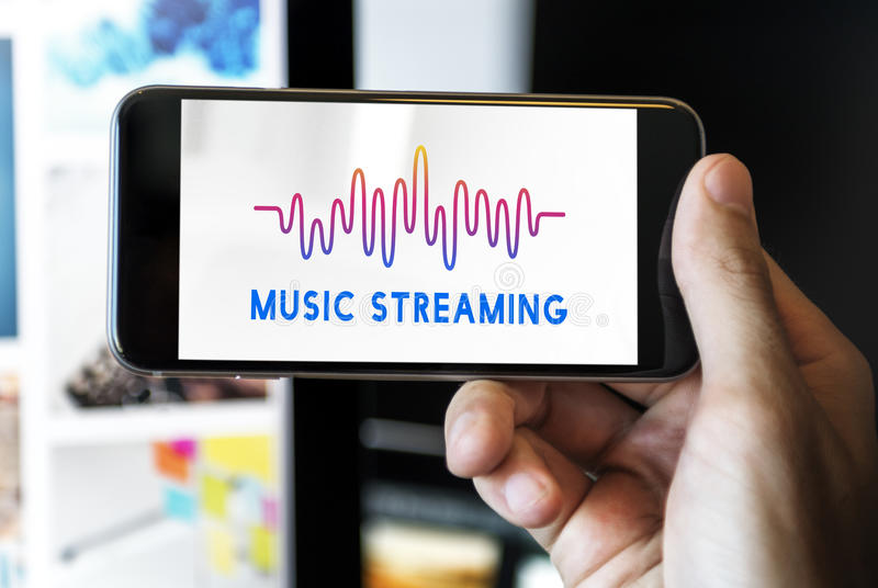 Online Music Audio Music Streaming Wave Graphic Concept royalty free stock photo