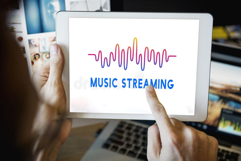 Online Music Audio Music Streaming Wave Graphic Concept royalty free stock photos