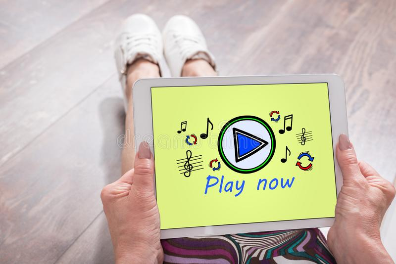 Online music concept on a tablet stock photos