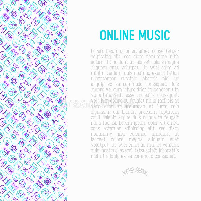 Online music concept with thin line icons stock illustration