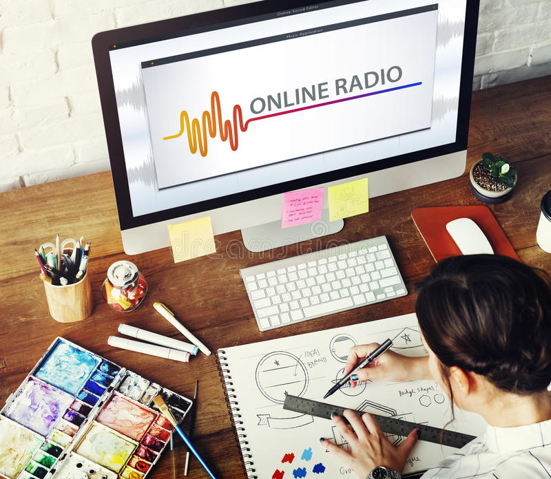 Online Music Multimedia Entertainment Sounds Concept. Woman design banner listening online radio royalty free stock image