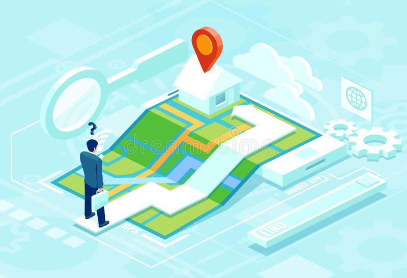 Online navigation concept in isometric vector. Businessman using smartphone application map to find his destinaton stock illustration