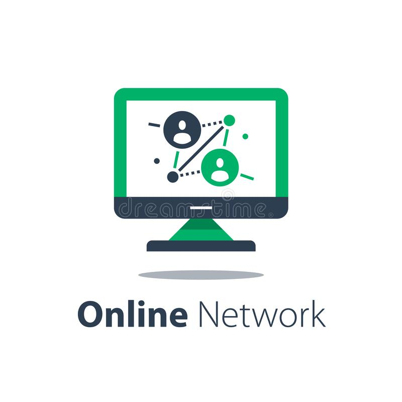Free Online Network, Computer Monitor, Internet Portal, People Connection, Distant Work Stock Image - 160337541