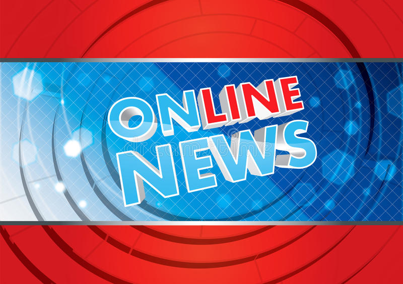 Online news. Illustration for online news with blue and red colors, 3D text royalty free illustration