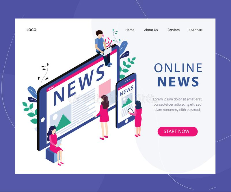 Online News Concept Isometric vector illustration