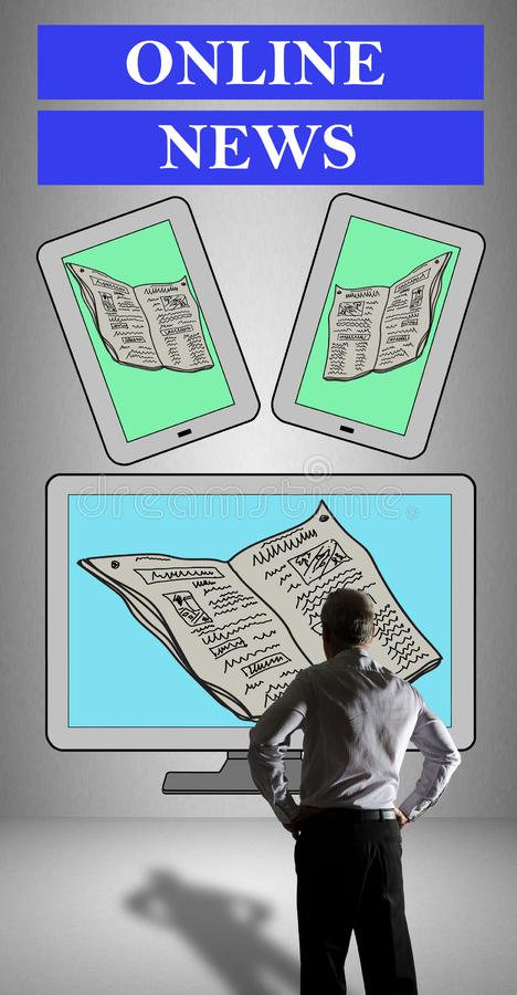 Online news concept watched by a businessman royalty free stock photos