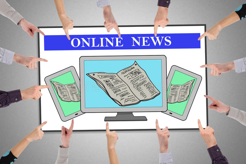 Online news concept on a whiteboard. Hands pointing to online news concept royalty free stock image