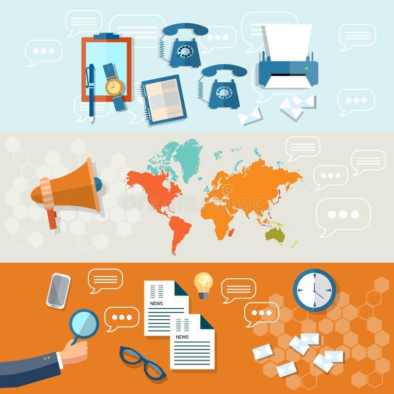 Online news newsletter information business banners stock illustration