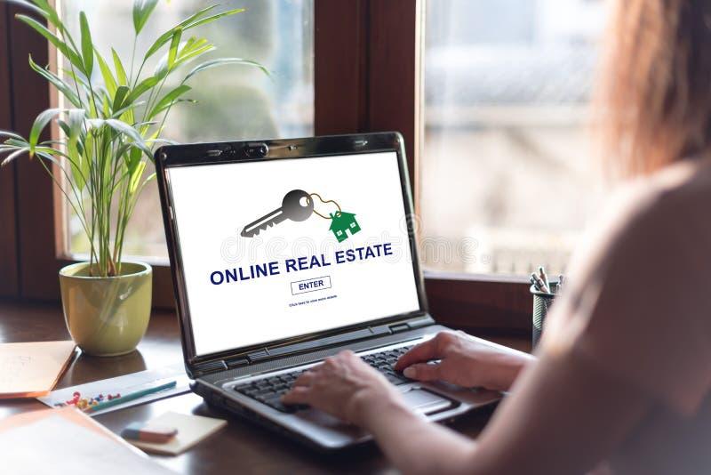 Online nieruchomości pojęcie na laptopu ekranie fotografia stock