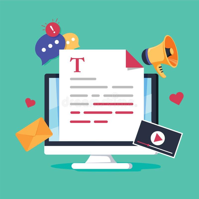 Online nieuws, blogpost of krant op de vlakke vectorillustratie van de nieuwswebsite Het nieuws werkt digitale inhoud, het bloggi royalty-vrije illustratie