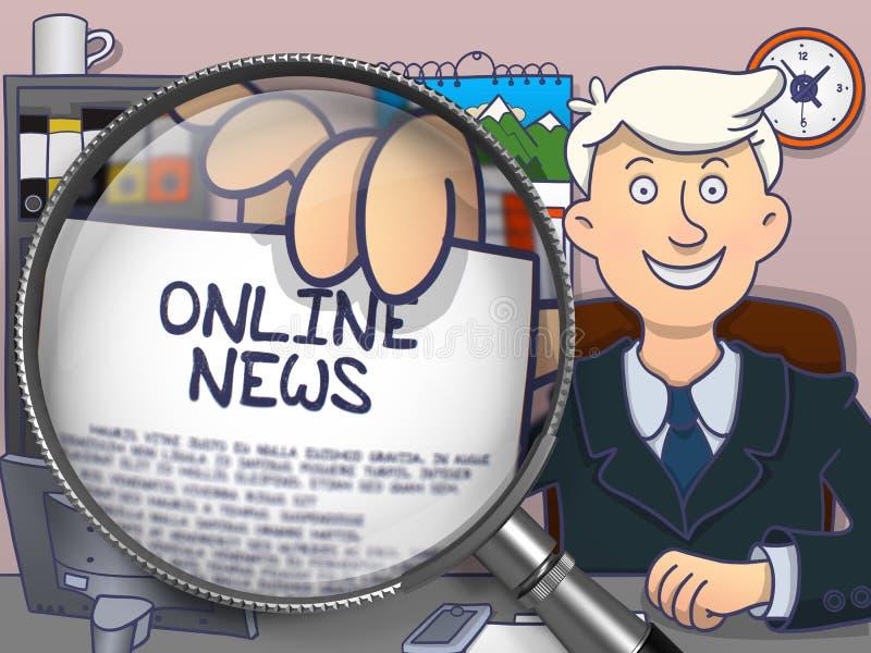 Online Nieuws door Magnifier De stijl van de krabbel royalty-vrije illustratie