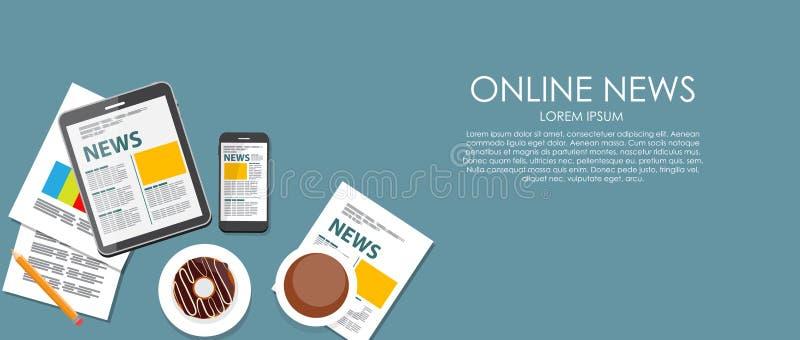Online Nieuws Vectorillustratie Vlakke gegevensverwerking stock illustratie