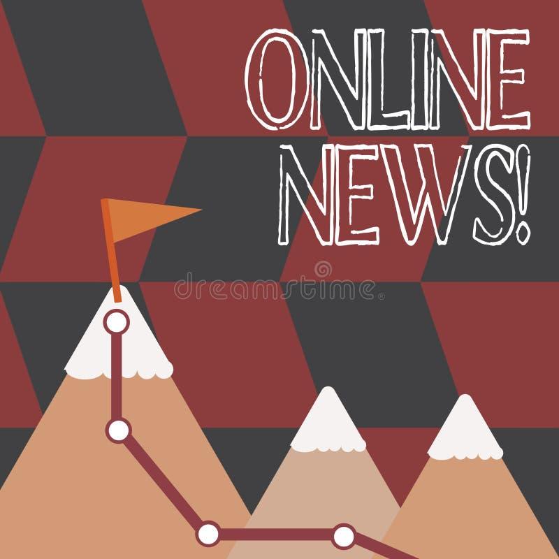 Online-nyheterna för ordhandstiltext Affärsidé för nyligen mottagen eller anmärkningsvärd information om händelsewebsite tre vektor illustrationer