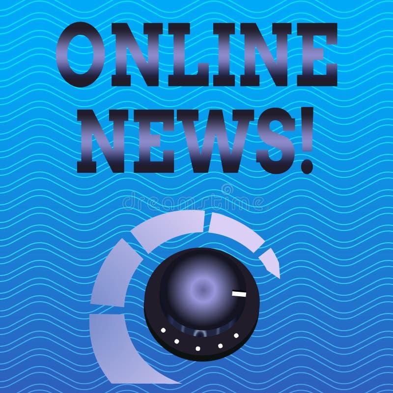 Online-nyheterna för ordhandstiltext Affärsidé för nyligen mottagen eller anmärkningsvärd information om händelsewebsitevolym vektor illustrationer