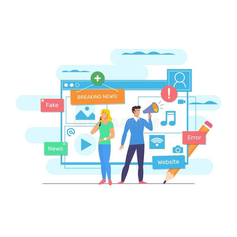 Online-nyheterna, tidning, nyheternawebsite Nyheternauppdatering, digitalt innehåll, internettidning, nyhetsartikel för rengöring stock illustrationer